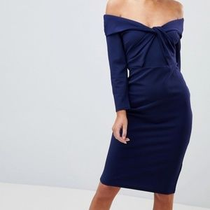 City Goddess Long Sleeved Midi Dress With Twisted